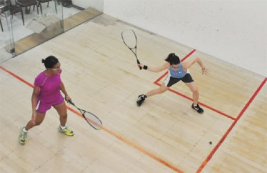 Mary Fung-A-Fat (right) on the attack against Akeila Wiltshire