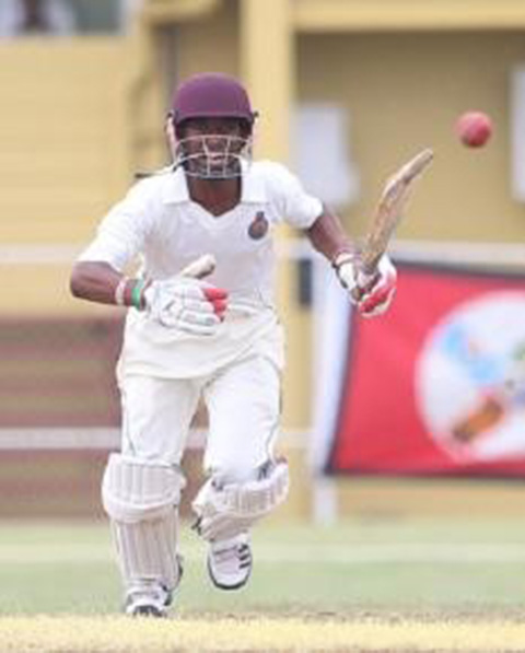 Emmanuel Stewart gathers runs during his half-century. (Photo courtesy WICB Media)
