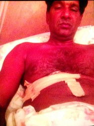 Mohamed Khan in the hospital the night after he was shot.
