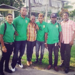 The Commonwealth Games cycling contingent poses for a photo opportunity. From left are Alanzo Greaves, Marlon Williams, Raynauth Jeffrey and Coach, Dwayne Gibbs. They are flanked by president of the Guyana Cycling Federation (GCF), Cheryl Thompson and GOA member, Hector Edwards.