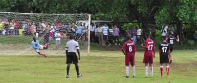 Region Five champions Bush Lot Secondary scoring their opening goal against Region One champions Port Kaituma Secondary.