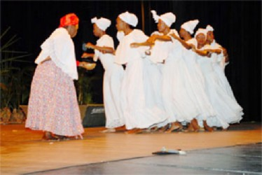The National Dance Company on stage at Carifesta X