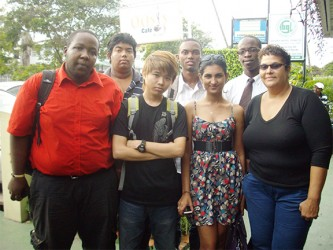The Guyana Chess Olympiad team which will be travelling to Norway at the end of the month to participate in the 2014 Olympiad. From left to right, front: Ronuel Greenidge, Hai Feng Su, Yolander Persaud and Maria Thomas. Back: Taffin Khan, Anthony Drayton and Wendell Meusa