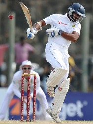 Kumar Sangakkara, tested by a bouncer, remained unbeaten on 58 at close of play yesterday