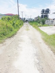 An eroded road in the community.