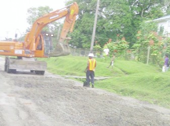 Work being done on part the Bartica-Potaro Road