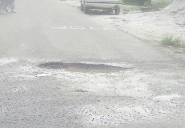 One of few potholes in central Bartica