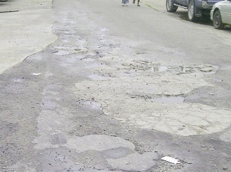 Surface deterioration in Central Bartica a few steps from the NDC office