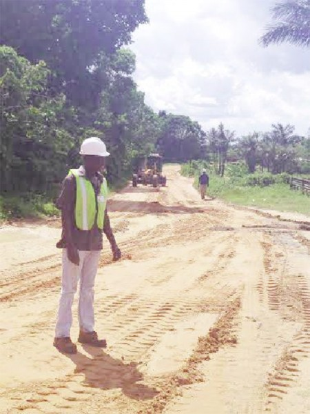 These Ministry of Works photos show work ongoing on the road.