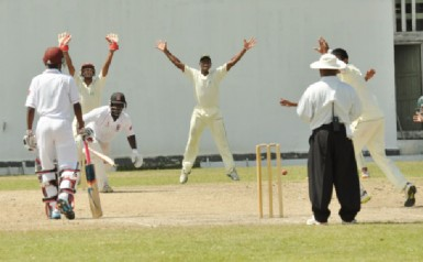 Brian Christmas was given out LBW off Sharaz Ramcharan.