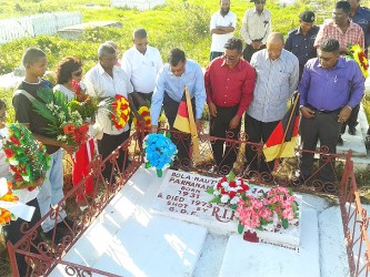 Wreaths being laid this week on the Corentyne by PPP officials at the graves of the two men, Bholanauth Parmanand and Jagan Ramessar  who died in 1973 trying to prevent the removal of ballot boxes during the general elections.