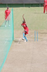 Dwayne Bravo getting a few overs under his belt at the Providence Stadium today. The Red Steel will take on the Guyana Amazon Warriors on Thursday in the Caribbean Premier League tourney.