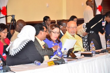 From right: President Donald Ramotar and Guyana's Foreign Affairs Minister Carolyn Rodrigues-Birkett and Legal Affairs Minister Anil Nandlall at the 35th Meeting of the Caricom Heads of Government on Wednesday. (Photo via GINA)