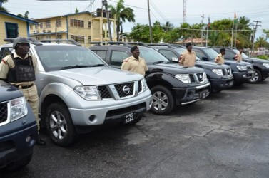 The 4x4 pick-ups presented to the Guyana Police Force (GINA photo)