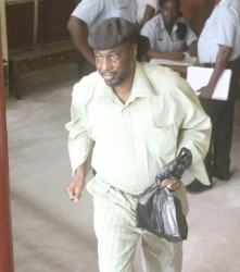 Linden Primo as he left the Georgetown Magistrates' Courts yesterday after being released on self-bail