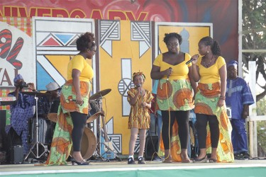The Whaul Sisters as they performed African-inspired songs
