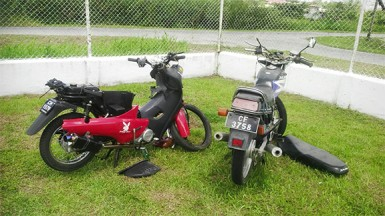 The damaged motor cycles in the compound of the Diamond/Grove Police Station.