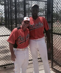 Jamaal Anderson, right, is at present enjoying lots of attention at the MLB Orioles Academy where he is on a tryout. (Photo courtesy of Guyana Baseball League).