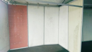 This was the condition of the boards forming the booths