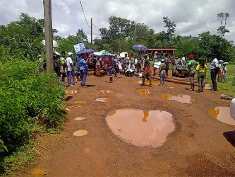 Some residents blocked the airstrip road