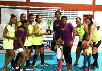Division-B champions Hikers Revelation displaying their championship trophy.