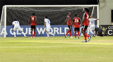Albert Elis (no.17) of Honduras side Olimpia netting the game's only goal during his side's hard fought win over Alpha United in the opening round of the CONCACAF Champions League