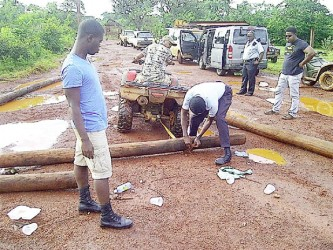 Police stationed in Mahdia remove the logs used as road barriers.