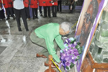 PNCR Leader David Granger laying a wreath (PNCR photo)