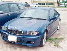 One of the two BMWs that the father and family friend of Gauntlett Gallimore have agreed to forfeit to the State.-Contributed