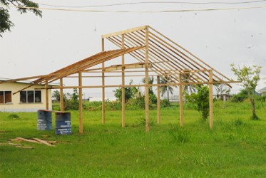Under construction: A shadehouse at the David Rose School for handicapped children.