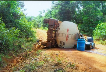 A fuel tanker toppled as it manoeuvred through one of the roads.