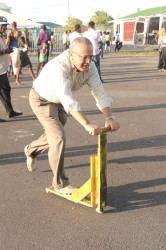 A patron takes a spin on a makeshift scooter