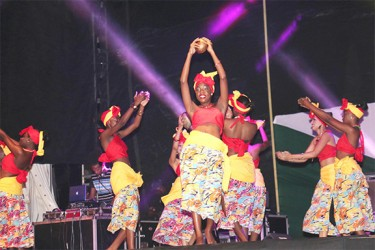 Performers during an African-inspired dance
