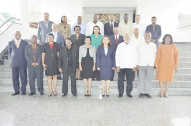President Donald Ramotar is third from right in the front row, second from right is Prime Minister Sam Hinds. (Ministry of Foreign Affairs photo)