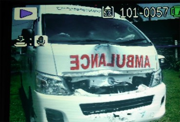 The ambulance in which Chanruttie Sukhdeo was being transported when it collided with another vehicle
