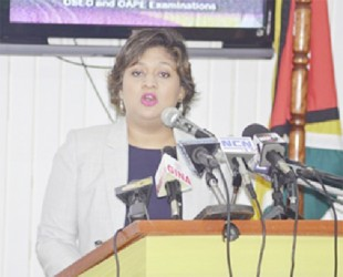 Minister of Education Priya Manickchand speaking at the press conference yesterday. (GINA photo)