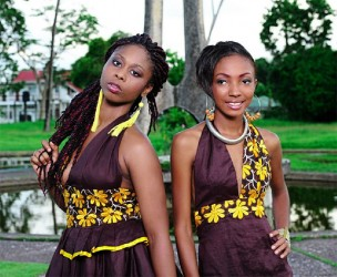 Two models display pieces from Mwanza