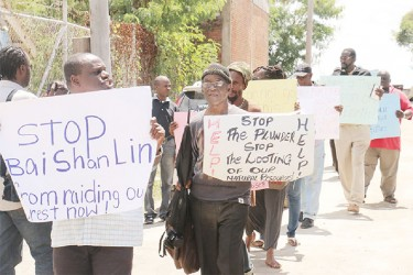 Members of the Environmental Community and Health Organization (ECHO) picket the Guyana Forestry Commission over the claims made in the media against Bai Shan Lin and Vaitarna Holdings Private Inc. (VHPI)