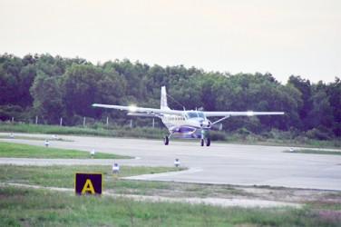 The Cessna Grand Caravan 208B EX landing at Ogle International Airport.  BK air 2