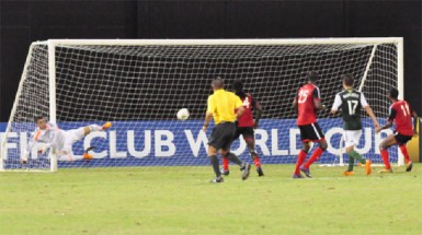 Alpha United scoring their opening goal against Portland Timbers through a Barbosa Murilo freekick during their CONCACAF Champions League matchup