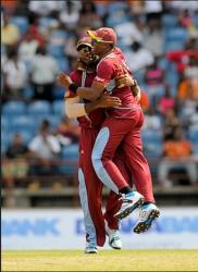 Kieron Pollard and Dwayne Bravo celebrate winning the 2nd Dhaka Bank ODI West Indies v Bangladesh at Grenada National Stadium, St. George's, Grenada yesterday. WICB Media Photo/Randy Brooks