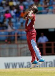 Kemar Roach celebrates Tamim Iqbal caught during the 2nd Dhaka Bank ODI West Indies v Bangladesh at Grenada National Stadium, St. George's, Grenada yesterday. WICB Media Photo/Randy Brooks
