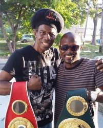 Last Friday there was a meeting of two Guyanese champions when boxing's double former world champion (IBF and IBO) Gary Sinclair paid an impromptu visit to our cultural icon and international music superstar Eddy Grant. There was a lot of friendly chat and some serious appreciation as these champions expressed views on each other's discipline, boxing and music.