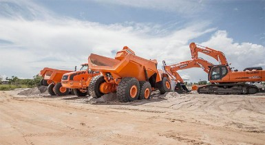 The heavy duty trucks and excavators (Photo by Michael Fernandes)