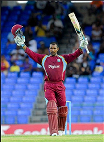 CAPTAIN'S KNOCK! Denesh Ramdin celebrates his second One Day International century during the 3rd and final Dhaka Bank ODI between the West Indies and Bangladesh at Warner Park. Basseterre, St. Kitts yesterday. WICB Media Photo/Randy Brooks