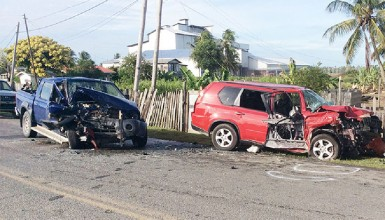 Two doctors were injured when these two vehicles collided
