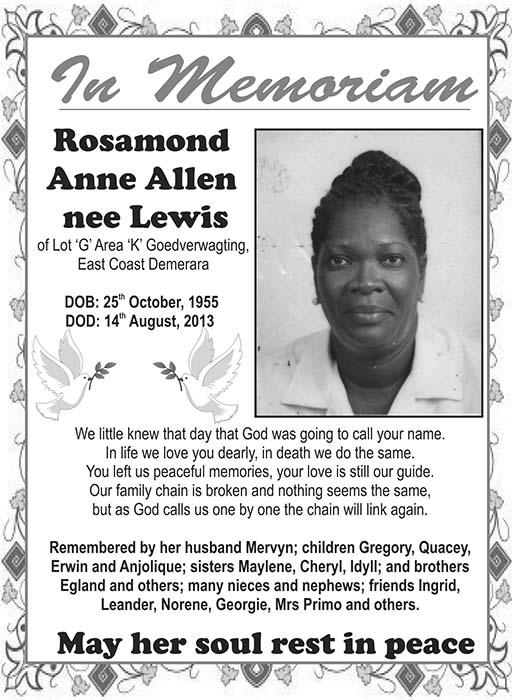 Rosamund Allen nee Lewis