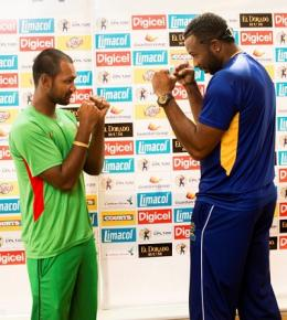 Guyana Amazon Warriors captain Denesh Ramdin (left) and Barbados Tridents skipper Kieron Pollard, say they mean business ahead of the CPL final.