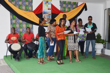 The Ministry of Housing choir  performing at its Emancipation celebration on Thursday. (GINA photo)