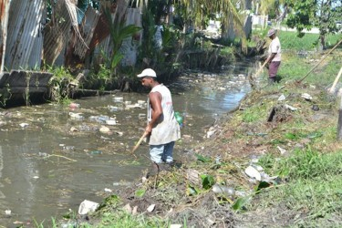 As a part of the $1 billion invested by the Government to ensure a cleaner Guyana, works are being done in several Georgetown wards. The sum of $500M has been earmarked for the city's clean-up. This GINA photo shows the weeding the Lamaha Street canal.